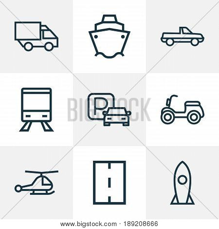 Transportation Outline Icons Set. Collection Of Cargo, Pickup, Road And Other Elements. Also Includes Symbols Such As Pickup, Car, Lorry.
