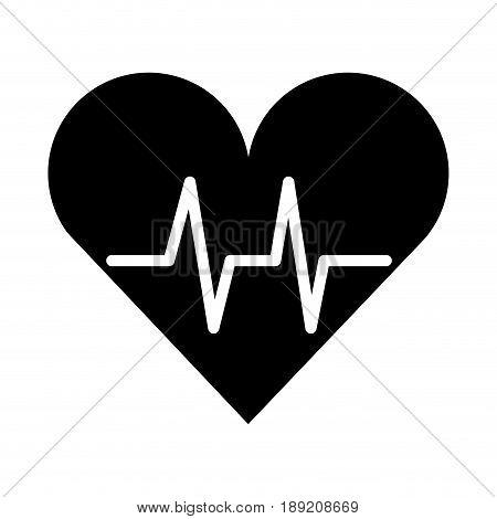 black icon heart beat pulse cartooon vector graphic design