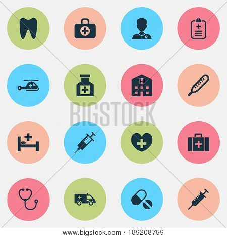 Medicine Icons Set. Collection Of Injection, Copter, Peck And Other Elements. Also Includes Symbols Such As Pellets, Heartbeat, Reliever.