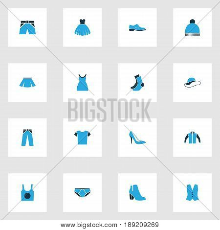 Dress Colorful Icons Set. Collection Of Man Footwear, Elegant Headgear, Beanie And Other Elements. Also Includes Symbols Such As Shirt, Half-Hose, Beanie.