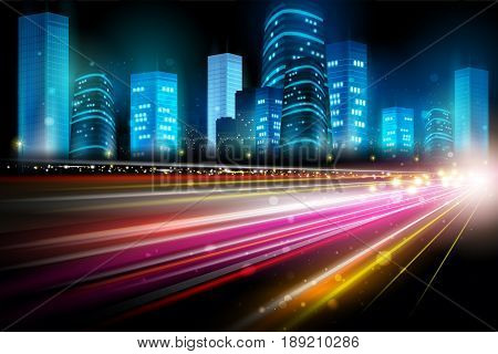 easy to edit vector illustration of city nightlife street with skyscraper cityscape