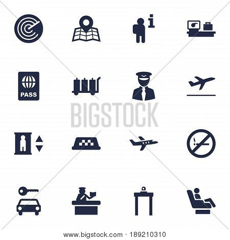 Set Of 16 Airplane Icons Set.Collection Of Radiolocator, Metal Detector, Leaving And Other Elements.