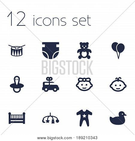 Set Of 12 Kid Icons Set.Collection Of Girl, Air Balloon, Teat And Other Elements.