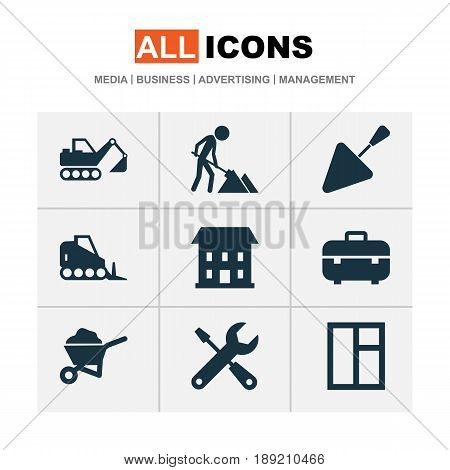 Building Icons Set. Collection Of Spatula, Equipment, Tractor And Other Elements. Also Includes Symbols Such As Cart, Equipment, Bricklayer.