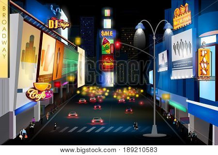 easy to edit vector illustration of city nightlife of BROADWAY, NEW YORK CITY