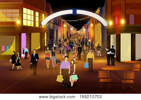 easy to edit vector illustration of city nightlife of CARNABY STREET, LONDON