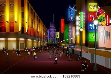 easy to edit vector illustration of city nightlife of Chicago Shanghai street poster