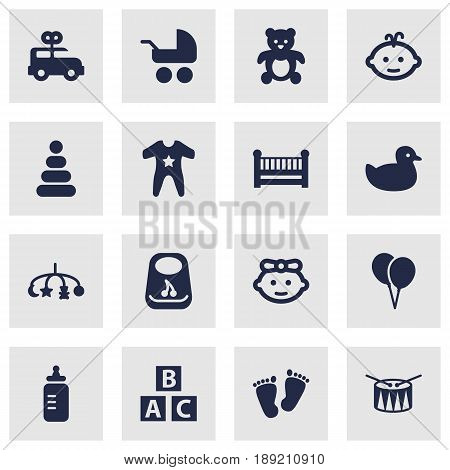 Set Of 16 Baby Icons Set.Collection Of Bear, Hangings, Breastplate And Other Elements.