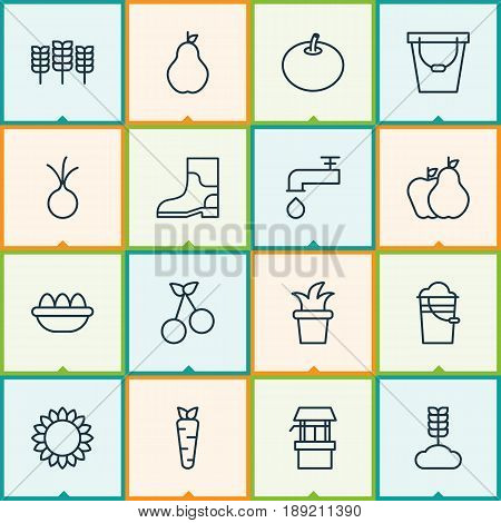 Icons Set. Collection Of Bush Pot, Wheat, Pail And Other Elements. Also Includes Symbols Such As Windfall, Sunflower, Garlic.