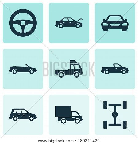 Car Icons Set. Collection Of Drive Control, Wheelbase, Car And Other Elements. Also Includes Symbols Such As Cabriolet, Lorry, Wheel.