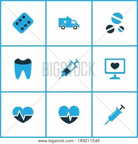 Medicine Colorful Icons Set. Collection Of Ambulance, Pellet, Heartbeat And Other Elements. Also Includes Symbols Such As Heal, Claw, Injection.