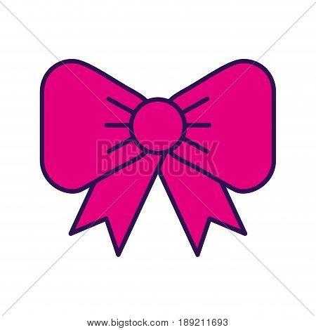 cute fuchsia bow cartoon vector graphic design