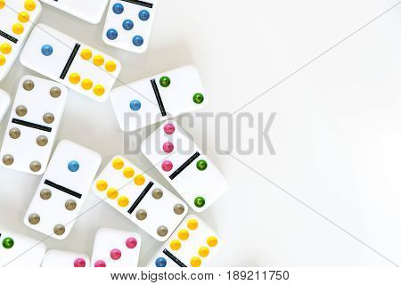 Domino Effect Shot. Look Down For Domino Game. Dominoes Falling In A Row In Front. Dominoes Game Pie