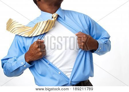 African American super hero businessman. Copy space.