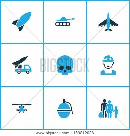 Battle Colorful Icons Set. Collection Of Rocket, Artillery, Soldier And Other Elements. Also Includes Symbols Such As Refugee, Army, Grenade.