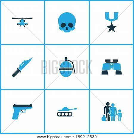 Warfare Colorful Icons Set. Collection Of Knife, Grenade, Helicopter And Other Elements. Also Includes Symbols Such As Fighter, Fugitive, Panzer.