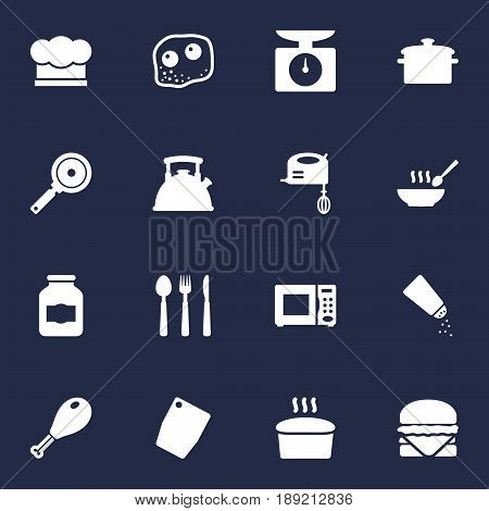 Set Of 16 Culinary Icons Set.Collection Of Electronic Oven, Chef Cap, Broth And Other Elements.