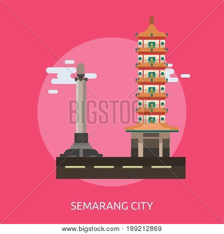 Semarang City of Indonesia Conceptual Design | Set of great flat design illustration concepts for city, indonesian, travel and much more.