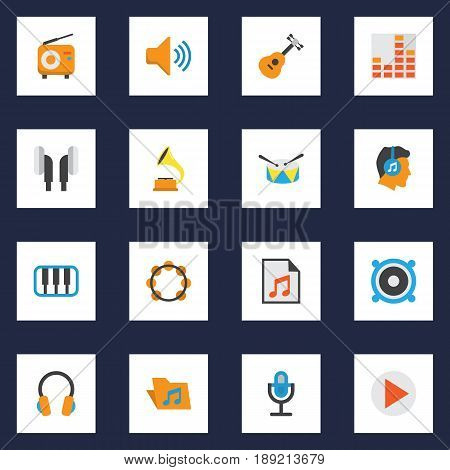 Music Flat Icons Set. Collection Of Portfolio, Male, Karaoke And Other Elements. Also Includes Symbols Such As Volume, Microphone, Fm.