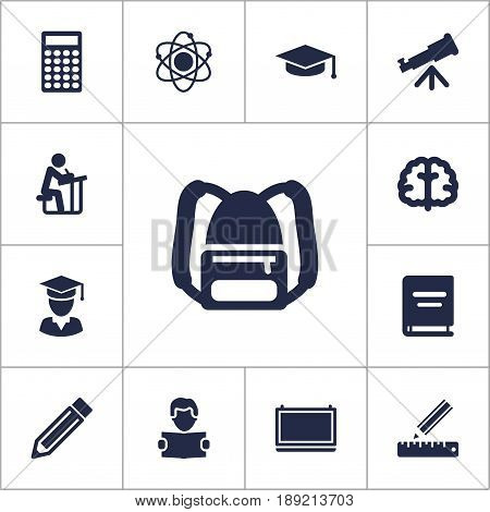 Set Of 13 Education Icons Set.Collection Of Molecule, Student, Blackboard And Other Elements.