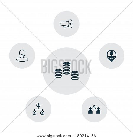 Management Icons Set. Collection Of Money, Tree Structure, Anonymous And Other Elements. Also Includes Symbols Such As Organisation, Money, Vacancy.