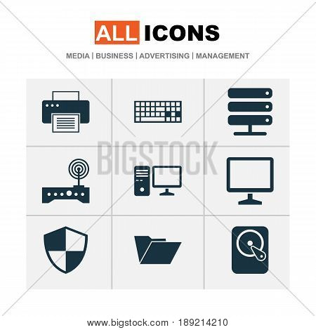 Computer Icons Set. Collection Of Desktop, Defense, Database And Other Elements. Also Includes Symbols Such As Hdd, Storage, Modem.