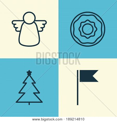Christmas Icons Set. Collection Of Doughnut, Flag Point, Decorated Tree And Other Elements. Also Includes Symbols Such As Pennant, Christmas, Angel.