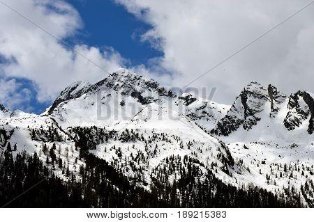 Snow capped mountain peak on Alps, Austria, Europe
