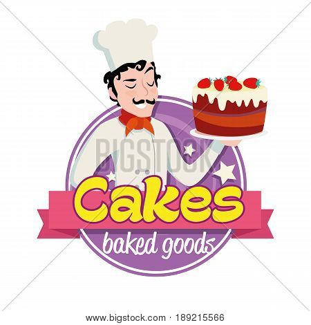 Vintage cartoon logo. Smiling man dressed in a cook cap and with a strawberry cake with frosting. White background.
