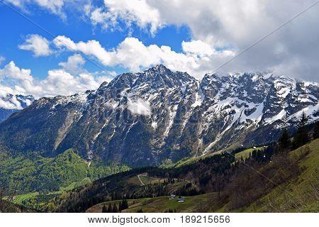 Beautiful alpine landscape from Rossfeldstrasse panorama road on German Alps near Berchtesgaden, Bavaria, Germany
