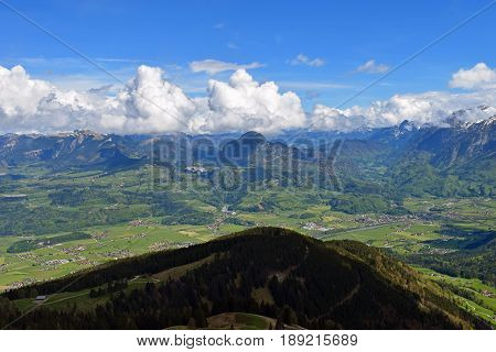 View from Rossfeldstrasse panorama road on German Alps near Berchtesgaden, Bavaria, Germany to valley in Austria.