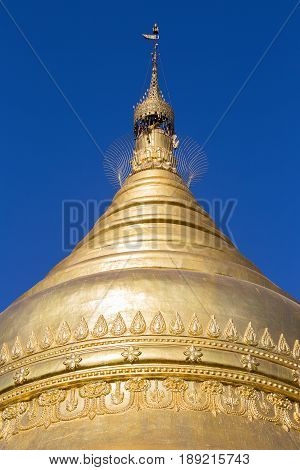 Golden stupa in Shwedagon Pagoda in Yangon Myanmar Burma