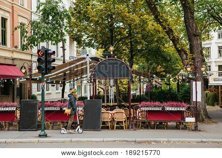 Open-air restaurant on the street of the European city