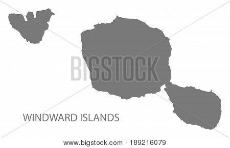 Windward Islands map grey illustration silhouette shape