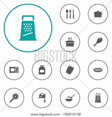Set Of 12 Culinary Icons Set.Collection Of Blender, Broth, Saucepan And Other Elements.