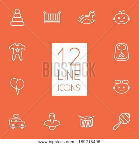 Set Of 12 Baby Outline Icons Set.Collection Of Boy, Nipple, Balloons And Other Elements.