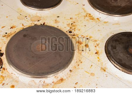 Very dirty plate in grease stains in the kitchen.