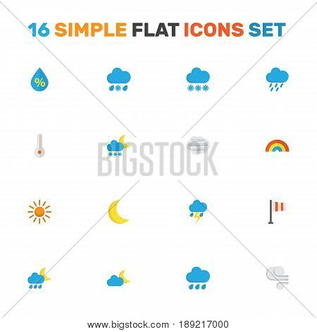 Weather Flat Icons Set. Collection Of Drop, Shower, Drizzles And Other Elements. Also Includes Symbols Such As Thermometer, Rainy, Bow.