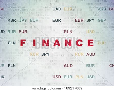 Currency concept: Painted red text Finance on Digital Data Paper background with Currency