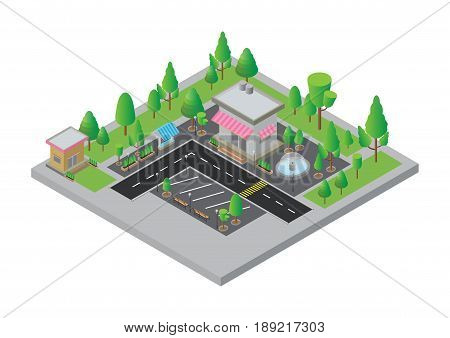 Isometric  City street and store, small shop  with streets, vector illustration.