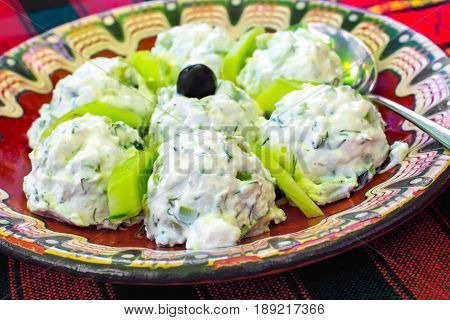 Bulgarian traditional salad made of yoghurt and cucumbers, called Snezhanka or Milk Salad on the bulgarian red tablecloth