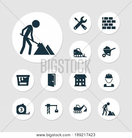 Building Icons Set. Collection Of Measure Tool, Entrance, Lifting Hook And Other Elements. Also Includes Symbols Such As Wheelbarrow, Wall, Hook.