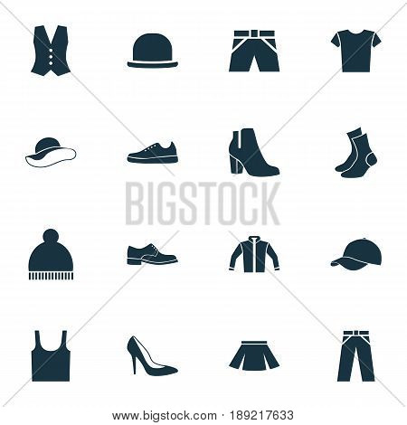 Garment Icons Set. Collection Of Elegant Headgear, Cardigan, Elegance And Other Elements. Also Includes Symbols Such As Male, Trunks, Leggings.