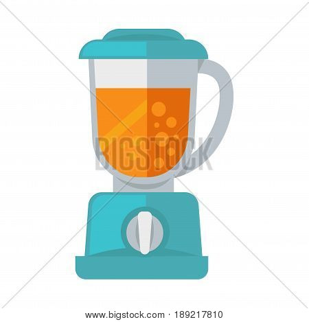 Vector illustration of blue colored blender with orange liquid inside isolated on white.