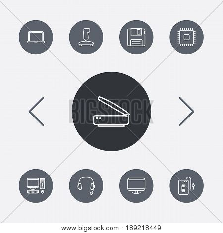 Set Of 9 Laptop Outline Icons Set.Collection Of PC, Scanner, Powerbank And Other Elements.