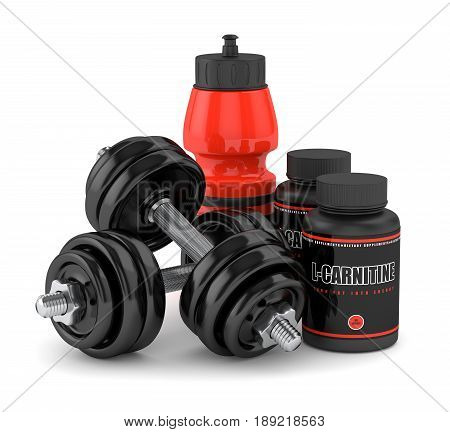 3D Render Of L-carnitine With Dumbbells And Water Bottle