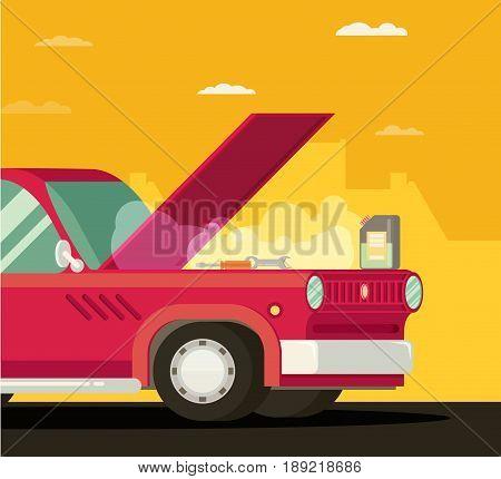 Broken car in town. Vector cartoon flat illustration