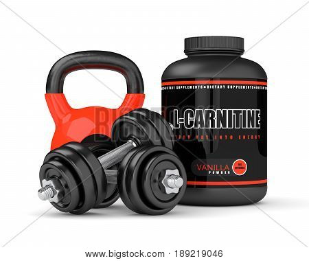 3D Render Of L-carnitine With Dumbbells And Kettlebel