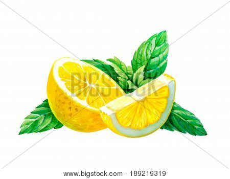 Lemon slices with mint leaves isolated on white background watercolor illustration with clipping path included