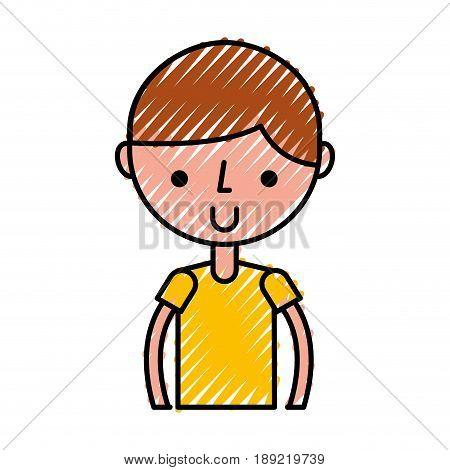 cute scribble upper body brown hair boy cartoon vector graphic design